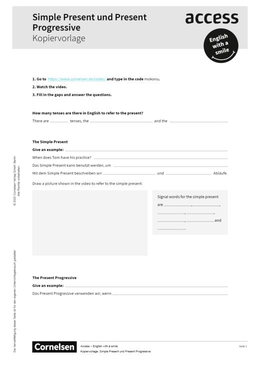 Access - Grammatikarbeit - Simple Present und Present Progressive - Kopiervorlage