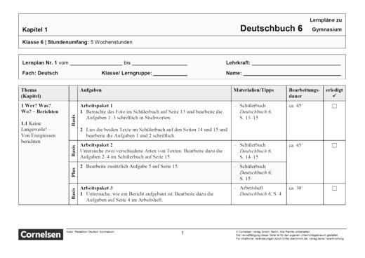 Deutschbuch Gymnasium - Band 6 - Lernplan - Schülerfassung - 6. Schuljahr