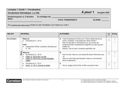 À plus ! Neubearbeitung - Unité 1 - Lernplan - Schülerfassung - Band 1