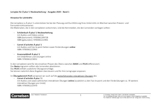 À plus ! Neubearbeitung - Allgemeine Hinweise - Lernplan - Lehrerfassung - Band 1