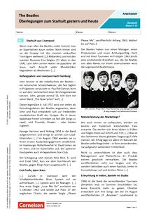 The Beatles - Überlegungen zum Starkult gestern und heute - Arbeitsblatt mit Lösungen