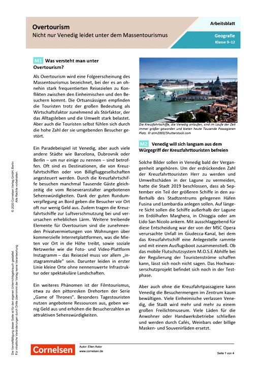 Overtourism - Nicht nur Venedig leidet unter dem Massentourismus - Arbeitsblatt mit Lösungen