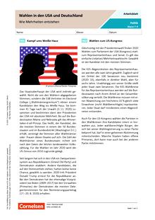 Wahlen in den USA und Deutschland. Wie Mehrheiten entstehen - Arbeitsblatt