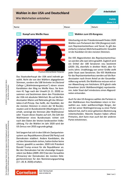Wahlen in den USA und Deutschland. Wie Mehrheiten entstehen - Arbeitsblatt mit Lösungen