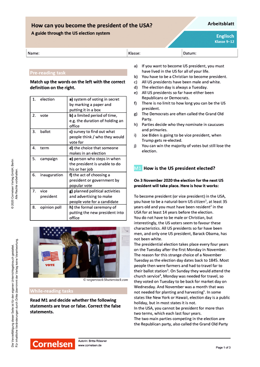 How can you become US president? A guide through the US election system - Arbeitsblatt mit Lösungen