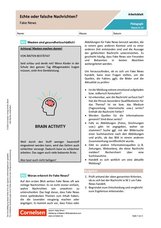 Echte oder falsche Nachrichten? - Fake News - Kopiervorlagen mit Materialien, Aufgaben sowie didaktischen Hinweisen und Lösung
