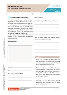 Der Welt auf der Spur - Die Urstoffe der ersten Philosophen - Arbeitsblatt mit Lösungen