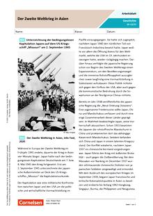 Der Zweite Weltkrieg in Asien - Arbeitsblatt mit Lösungen