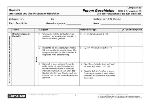 Forum Geschichte - Neue Ausgabe - Kapitel 5: Herrschaft und Gesellschaft im Mittelalter - Lernplan - Schülerfassung - Band 1