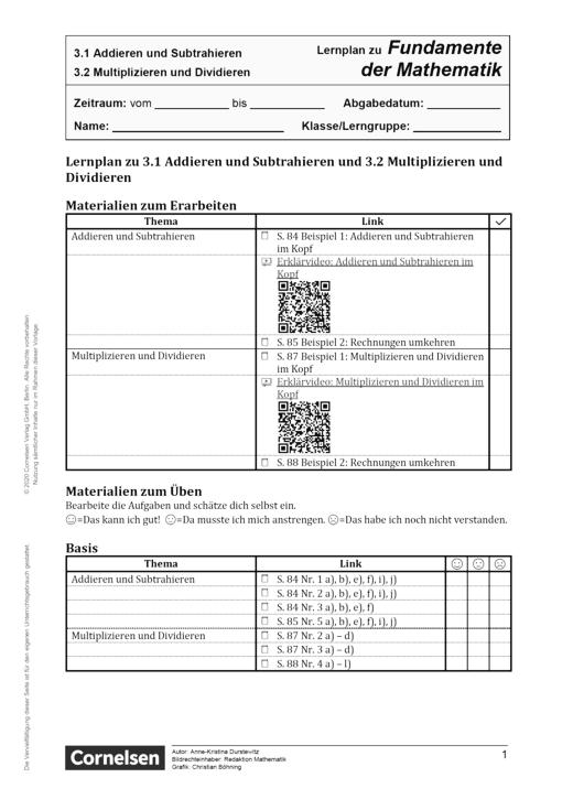 Fundamente der Mathematik - Kapitel 3.1 + 3.2: Addieren und Subtrahieren und Multiplizieren und Dividieren - Lernplan - Schülerfassung - 5. Schuljahr