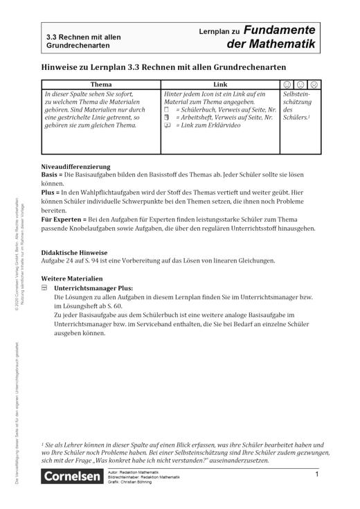 Fundamente der Mathematik - Kapitel 3.3: Rechnen mit allen Grundrechenarten - Hinweise - Lernplan - Lehrerfassung - 5. Schuljahr