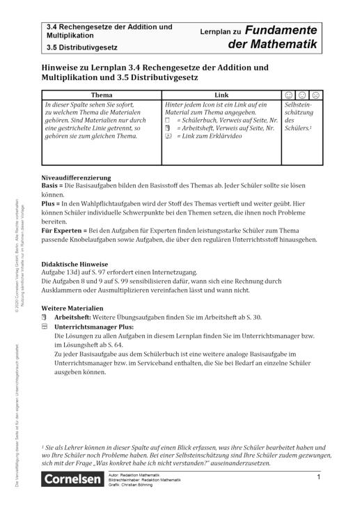 Fundamente der Mathematik - Kapitel 3.4 + 3.5: Rechengesetze der Addition und Multiplikation und Distributivgesetz - Hinweise - Lernplan - Lehrerfassung - 5. Schuljahr