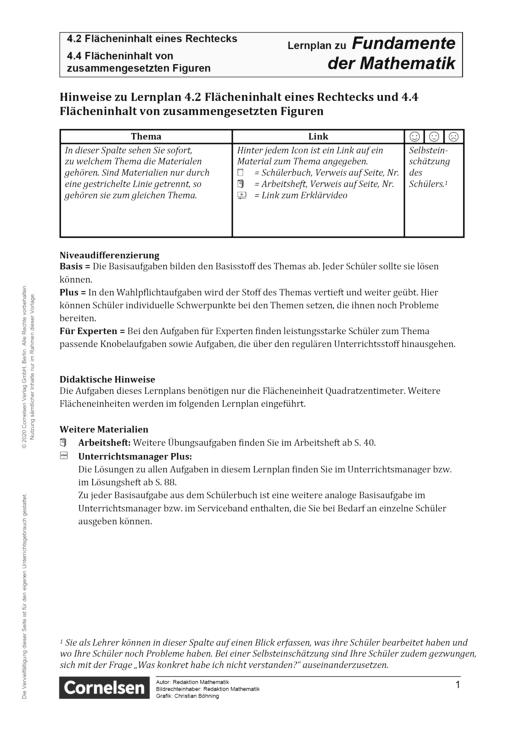 Fundamente der Mathematik - Kapitel 4.2 + 4.4: Flächeninhalt eines Rechtecks und Flächeninhalt von zusammengesetzten Figuren - Hinweise - Lernplan - Lehrerfassung - 5. Schuljahr