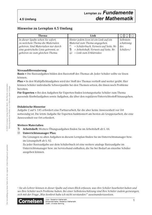 Fundamente der Mathematik - Kapitel 4.5: Umfang - Hinweis - Lernplan - Lehrerfassung - 5. Schuljahr
