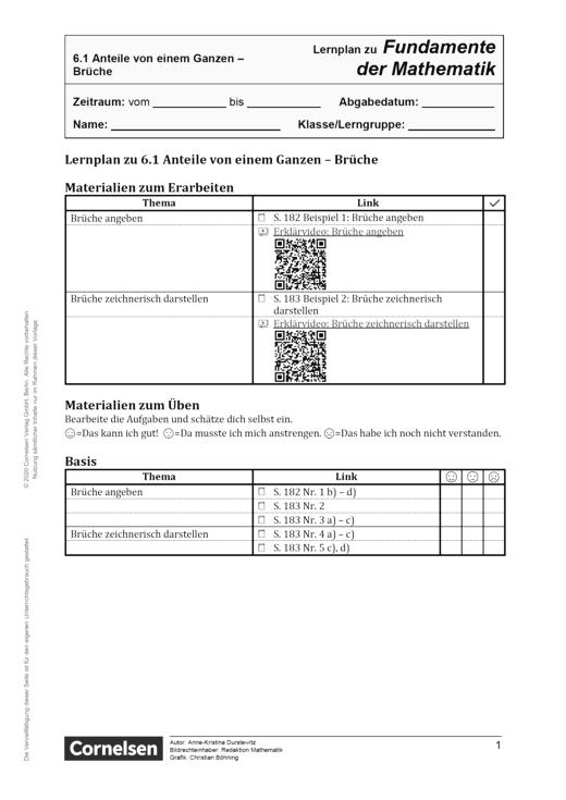 Fundamente der Mathematik - Kapitel 6.1: Anteile von einem Ganzen - Brüche - Lernplan - Schülerfassung - 5. Schuljahr