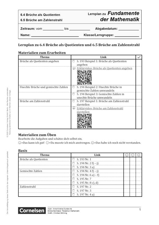 Fundamente der Mathematik - Kapitel 6.4 + 6.5: Brüche als Quotienten und Brüche am Zahlenstrahl - Lernplan - Schülerfassung - 5. Schuljahr