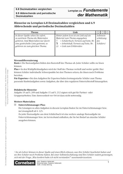 Fundamente der Mathematik - Kapitel 6.8 + 6.9: Dezimalzahlen vergleichen und Abbrechende und periodische Dezimalzahlen - Hinweise - Lernplan - Lehrerfassung - 5. Schuljahr