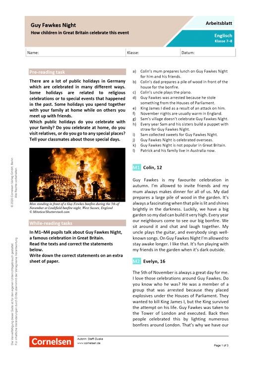 """""""Guy Fawkes Night"""" - How children in Great Britain celebrate this event. - Arbeitsblatt mit Lösungen"""