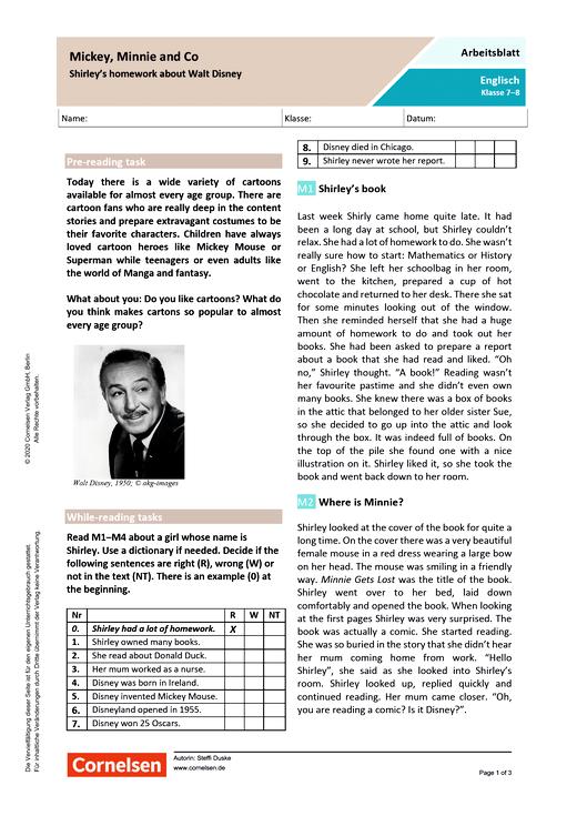 """""""Mickey, Minnie and Co"""" Shirley's homework about Walt Disney - Arbeitsblatt mit Lösungen"""