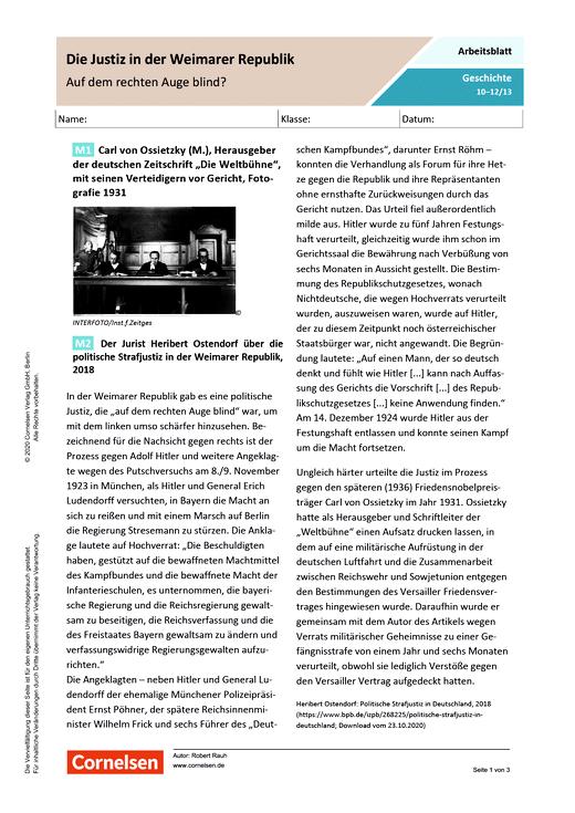 Die Justiz in der Weimarer Republik - auf dem rechten Auge blind? - Arbeitsblatt mit Lösungen