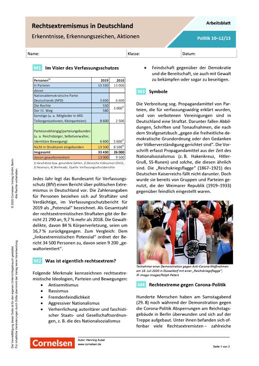 Rechtsextremismus in Deutschland. Erkenntnisse, Erkennungszeichen, Aktionen - Arbeitsblatt mit Lösungen