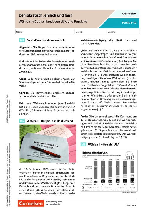 Demokratisch, ehrlich und fair? Wählen in Deutschland, den USA und Russland - Arbeitsblatt mit Lösungen