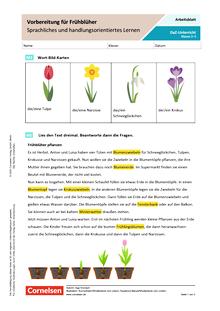 DaZ: Vorbereitung für Frühblüher - Sprachliches und handlungsorientiertes Lernen - Arbeitsblatt
