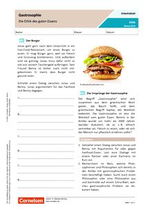 Gastrosophie - Die Ethik des guten Essens - Arbeitsblatt mit Lösungen