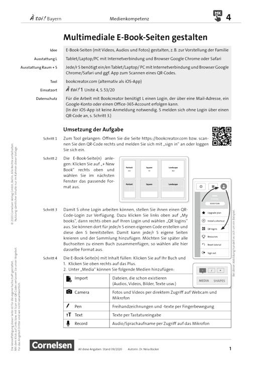 À toi ! - Medienkompetenz fördern - Multimediale E-Book-Seiten gestalten - Unterrichtsbeispiel - Band 1-4
