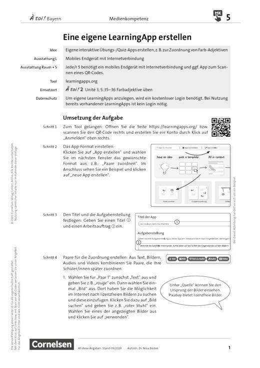 À toi ! - Medienkompetenz fördern - Eine eigene LearningApp erstellen - Unterrichtsbeispiel - Band 1-4