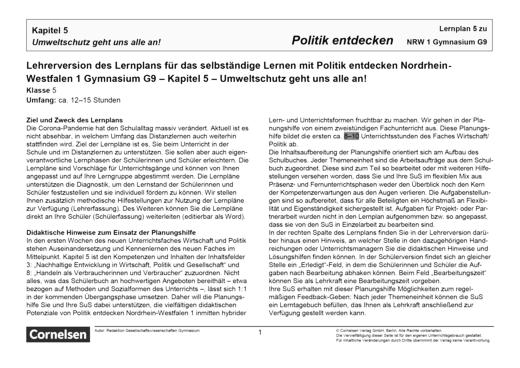Politik entdecken - Kapitel 5: Umweltschutz geht uns alle an! - Lernplan - Lehrerfassung - Band 1