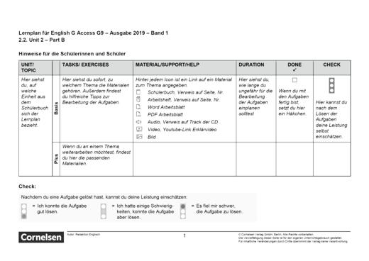 Access - Unit 2: Part B - Lernplan - Schülerfassung - Band 1: 5. Schuljahr