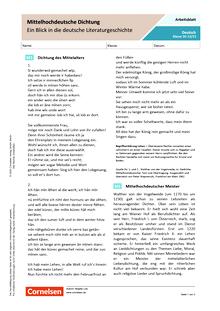 Mittelhochdeutsche Dichtung - Ein Blick in die deutsche Literaturgeschichte - Arbeitsblatt