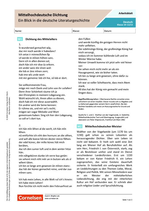 Mittelhochdeutsche Dichtung - Ein Blick in die deutsche Literaturgeschichte - Arbeitsblatt mit Lösungen