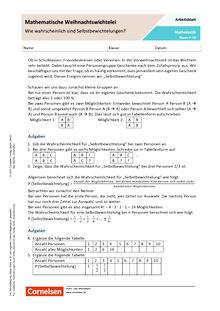 Mathematische Weihnachtswichtelei - Wie wahrscheinlich sind Selbstbewichtelungen? - Arbeitsblatt mit Lösungen