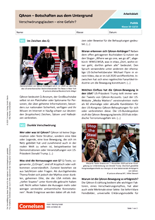 QAnon - Botschaften aus dem Untergrund. Verschwörungsglauben - eine Gefahr? - Arbeitsblatt mit Lösungen