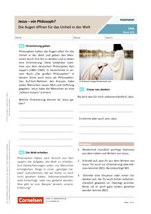 Jesus - ein Philosoph? – Die Augen öffnen für das Unheil in der Welt - Arbeitsblatt mit Lösungen
