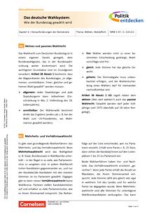 Politik entdecken - Das deutsche Wahlsystem – Wie der Bundestag gewählt wird - Arbeitsblatt mit Lösungen