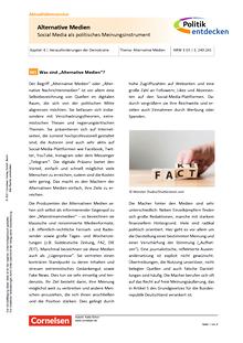 Politik entdecken - Alternative Medien - Social Media als politisches Meinungsinstrument - Kopiervorlagen mit Materialien, Aufgaben sowie didaktischen Hinweisen und Lösung