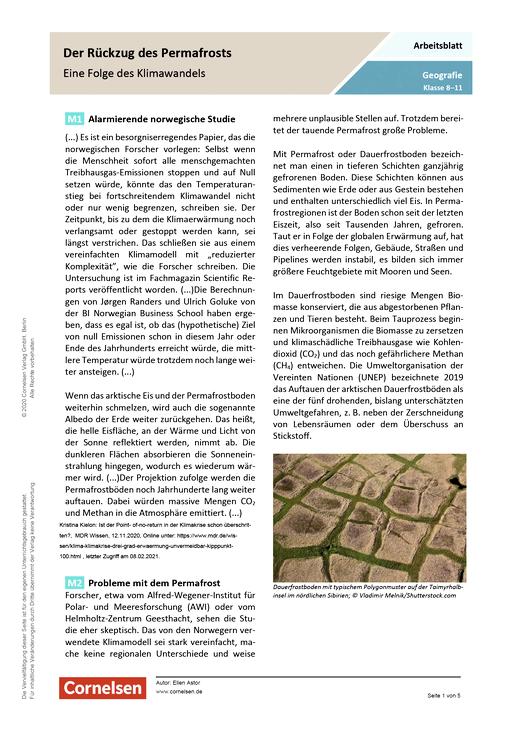 Der Rückzug des Permafrosts - Eine Folge des Klimawandels - Arbeitsblatt mit Lösungen