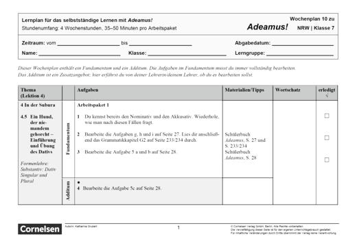 Adeamus! - Dem Dieb auf der Spur - Lernplan - Schülerfassung - Band 1