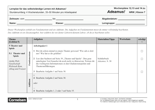 Adeamus! - Theater und Spiele - Lernplan - Schülerfassung - Band 1