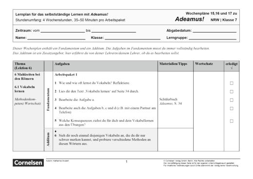 Adeamus! - Mahlzeiten bei den Römern - Lernplan - Schülerfassung - Band 1