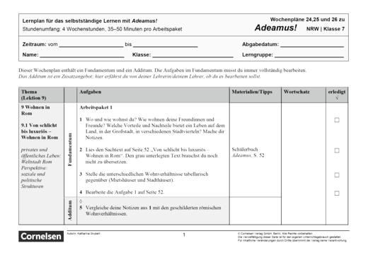 Adeamus! - Wohnen in Rom - Lernplan - Schülerfassung - Band 1