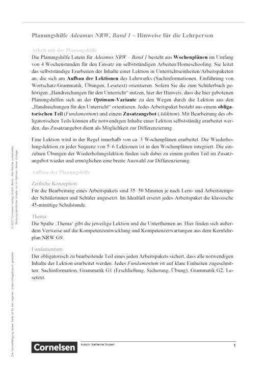 Adeamus! - Verbannung - Lernplan - Lehrerfassung - Band 1