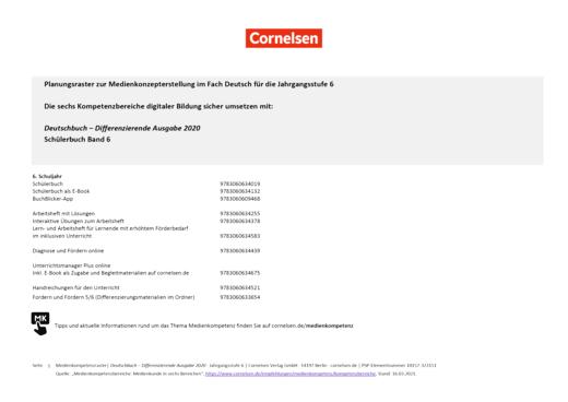 Deutschbuch - Planungsraster zur Medienkonzepterstellung - 6. Schuljahr