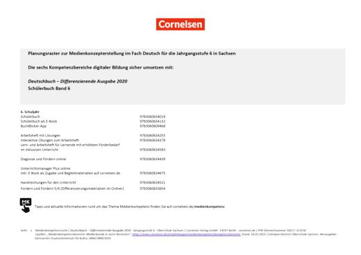 Deutschbuch - Planungsraster zur Medienkonzepterstellung für Sachsen - 6. Schuljahr