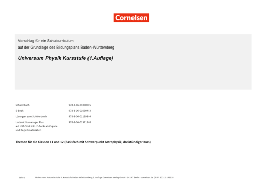 Universum Physik Sekundarstufe II - Synopse zum Basisfach Astrophysik - Kursstufe