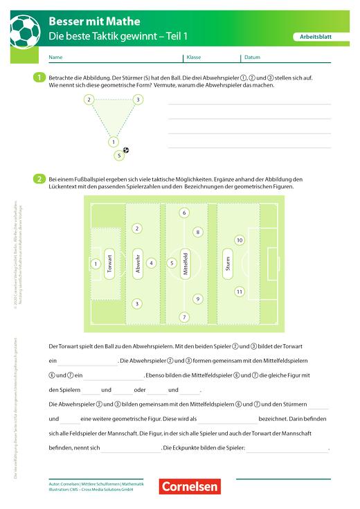 Die beste Taktik gewinnt - Teil 1 - Arbeitsblatt mit Lösung