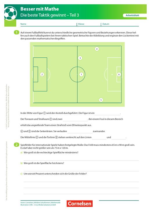 Die beste Taktik gewinnt - Teil 3 - Arbeitsblatt mit Lösung